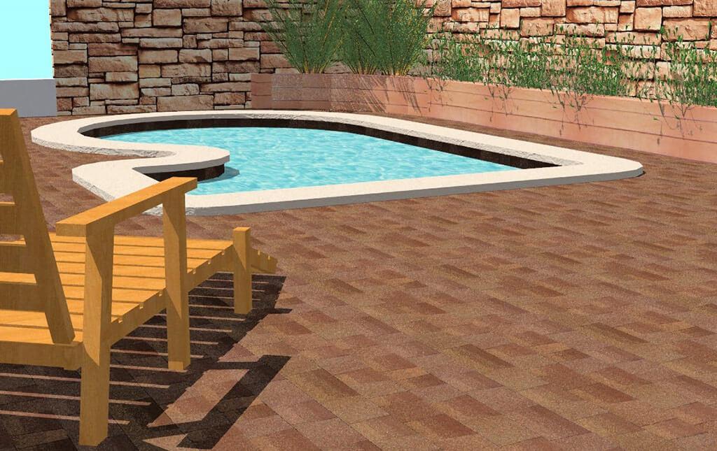 Diseño jardín piscina en 3D