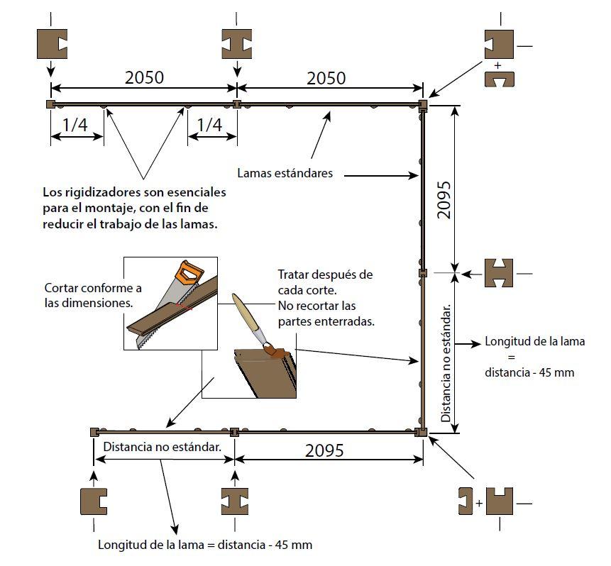 Sistema de montaje fácil, para vallas de lamas apilables